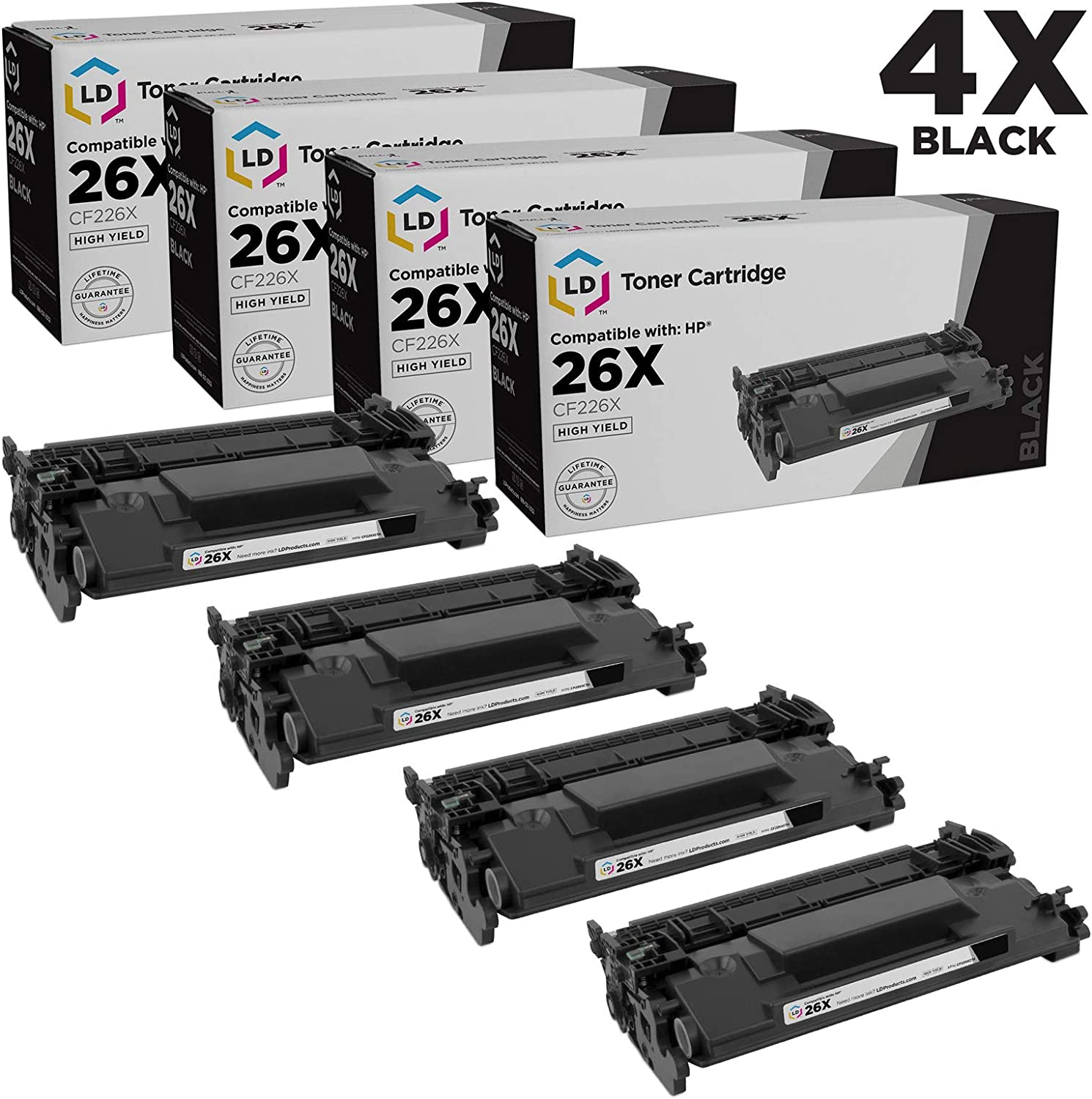 LD Compatible Toner Cartridge Replacement for HP 26X CF226X High Yield (Black, 4-Pack)