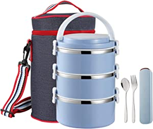 YBOBK HOME Thermal Lunch Box, Stackable Round Metal Stainless Steel Large Hot Food Bento Boxes for Adults, Lunch Container with Insulated Lunch Bag and Flatware with Case for Hot Lunch (Blue)
