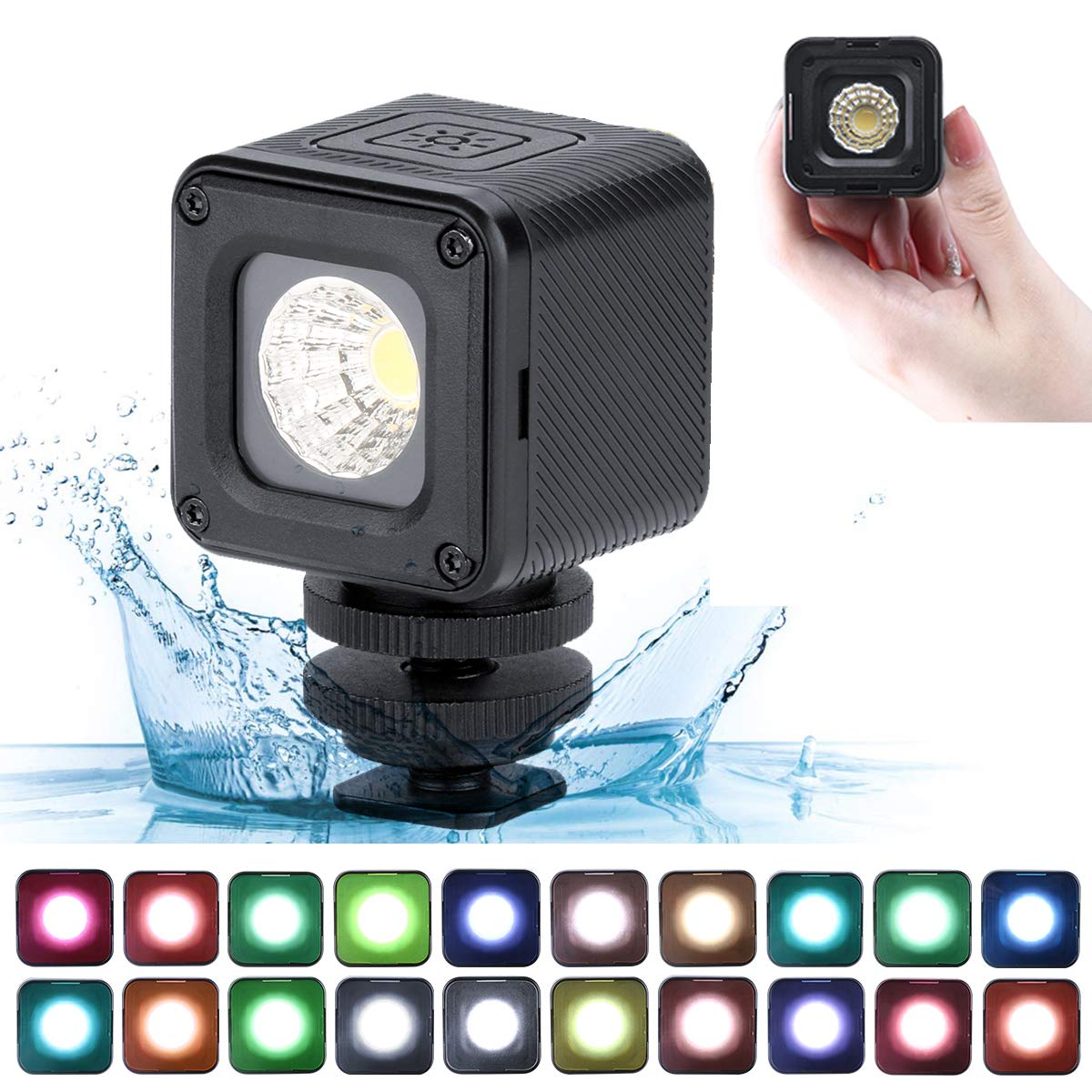 Super Bright 10m Waterproof LED Video Light - ULANZI L1 Pro Vlog Dimmable Fill Light on Camera with 20pcs Color Filters for Yuneec Drones DJI Osmo Pocket Osmo Action Gopro 7/6/5 Sony DSLR Camera by ULANZI Select