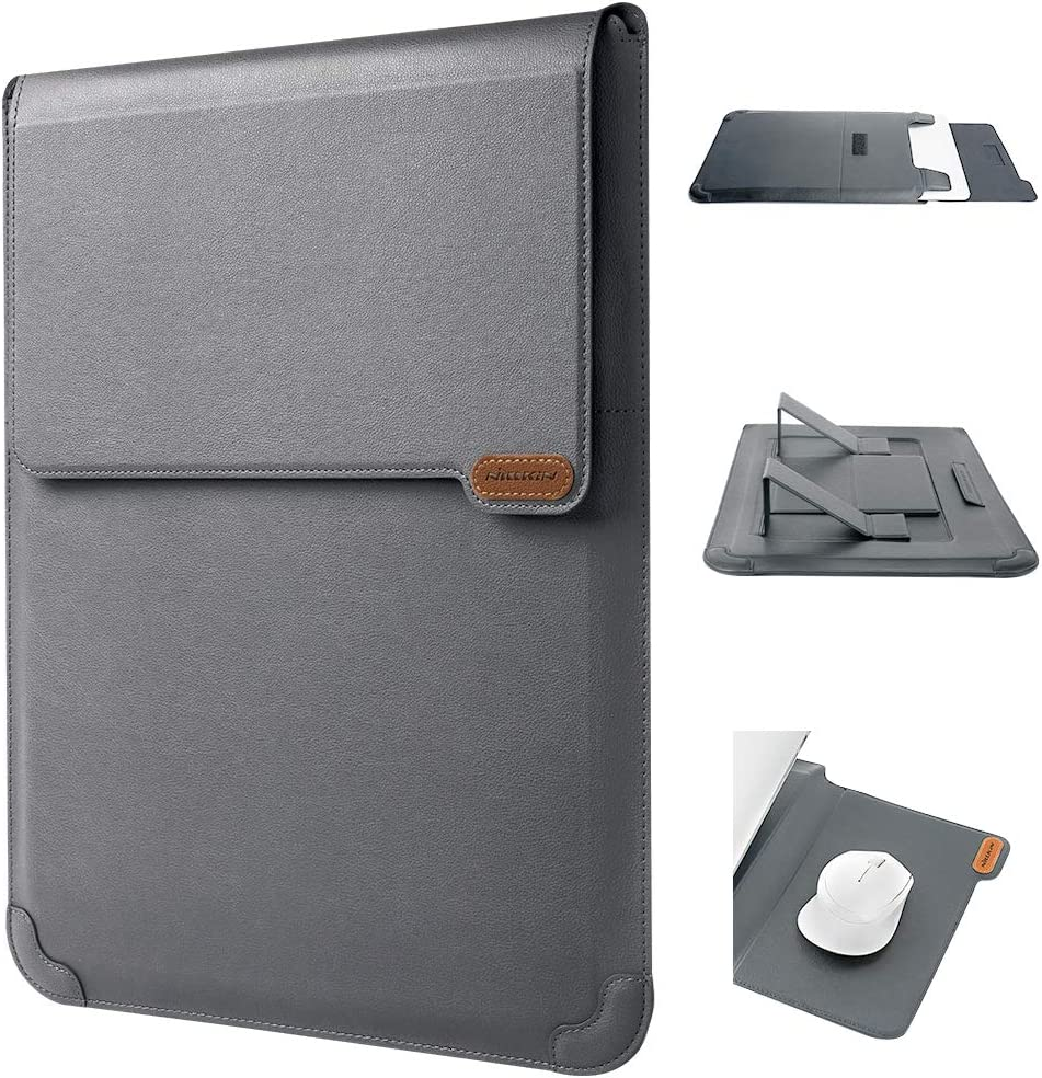 Nillkin Laptop Sleeve Case Compatible with 14-16 inch 3 in 1?Laptop Stand,Mouse pad? MacBook Pro Sleeve case MacBook Air Notebook Computer PU Leather Super Padded Bag Waterproof Protective Case Gray