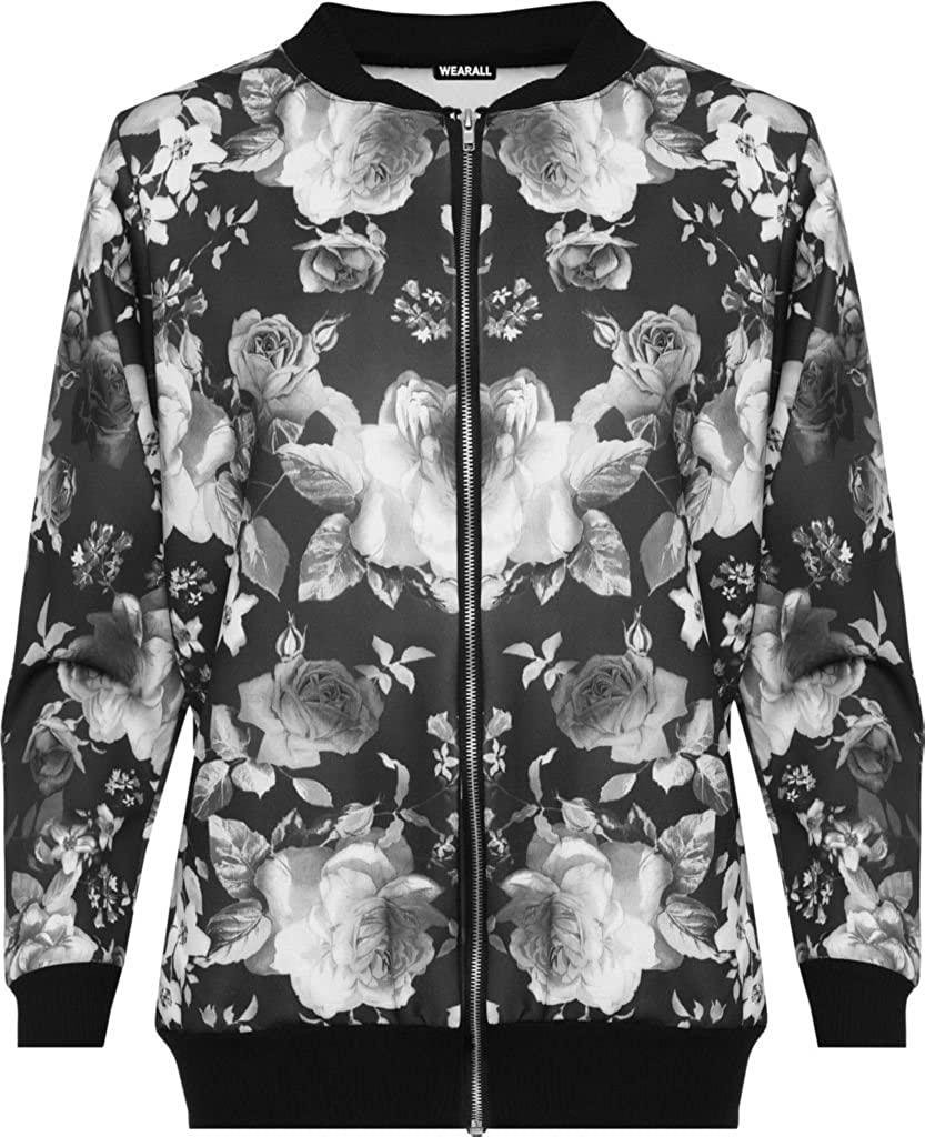 LADIES WOMENS CASUAL BOMBER JACKET FLORAL PLUS SIZE 14 16 18 20 22 24 26 28