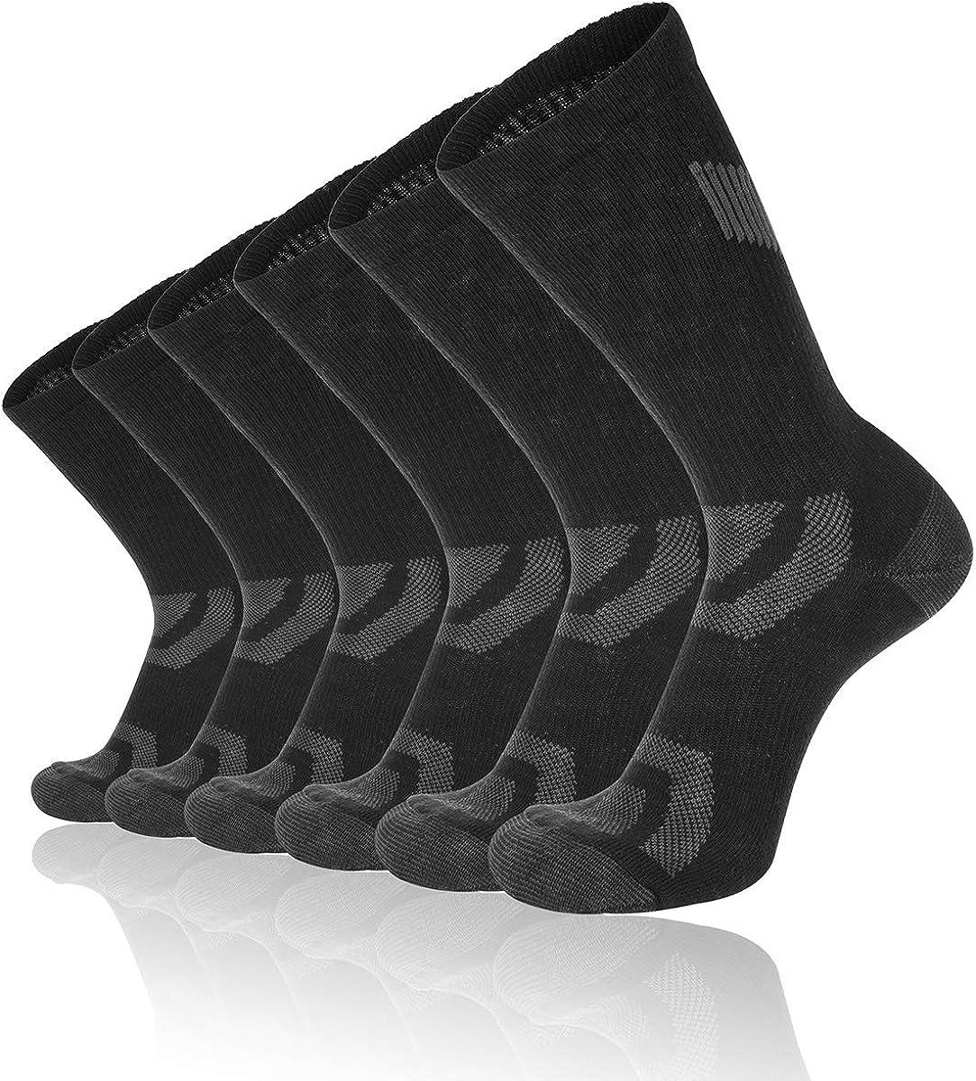 Eallco Mens 6 Pack Athletic Crew Socks Performance Cushioned Breathable Sports Work Socks