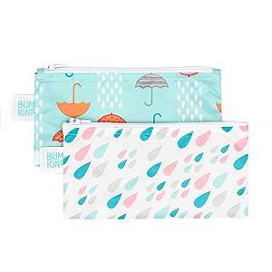 Bumkins Snack Bags, Reusable, Washable, Food Safe, BPA Free, 2-Pack – Raindrops & Umbrellas