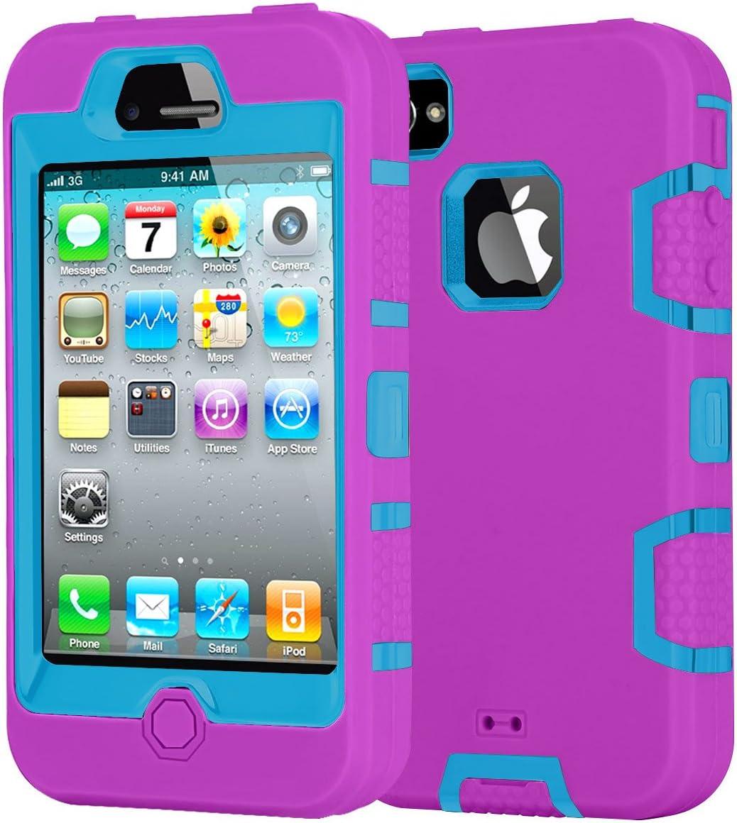 iPhone 4 Coque, iPhone 4S Coque, Aprilday Armour robuste haute résistance aux chocs en silicone et PC Dual Layer Bumper Defender Heavy Duty Coque de ...