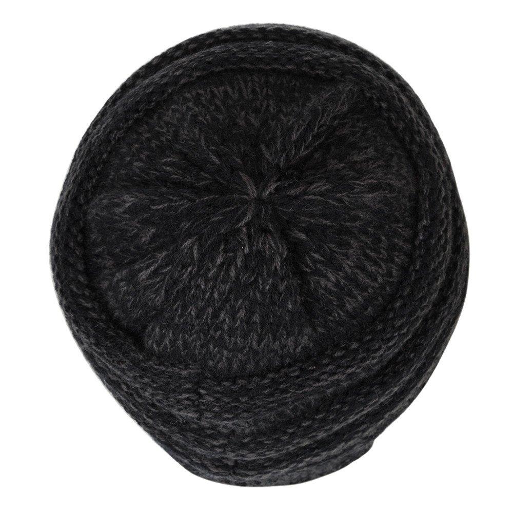 Chrislley Unisex Mütze warm gestrickte, dicke lose angenehm weich hochwertig fein verarbeitete Beanie Strick Mütze (Schwarz)