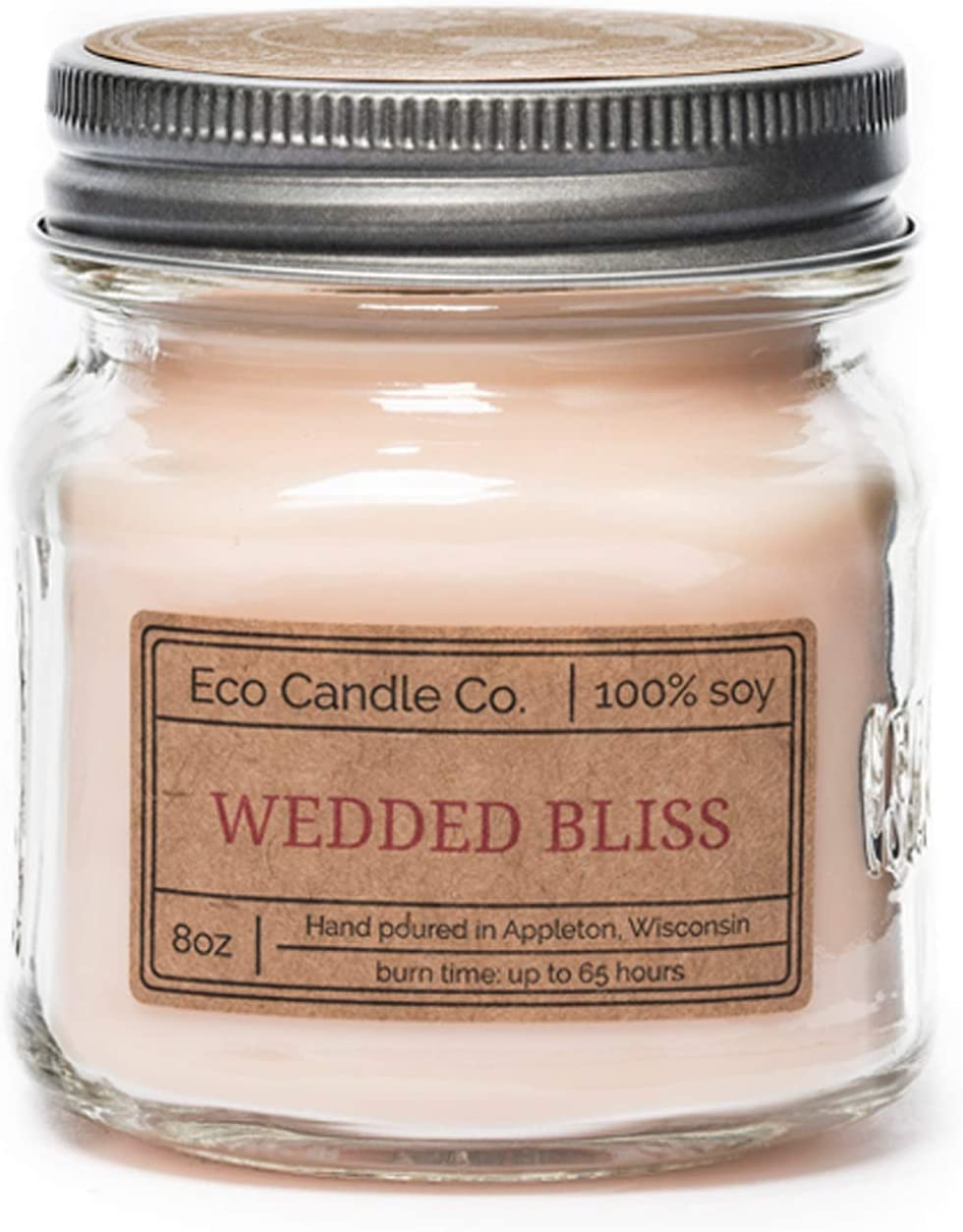 Eco Candle Co. Mason Jar Candle, Wedded Bliss, 8 oz. - Scents of Strawberries, Champagne, Lily of The Valley, & Apple Cider - 100% Soy Wax, No Lead, Kraft Label & Antiqued Pewter Lid, Hand Made