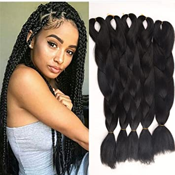 5 PCS Black Color Jumbo Braids Hair Extensions Big Braids 24 Inches  100g/pc(5pcs,Black)