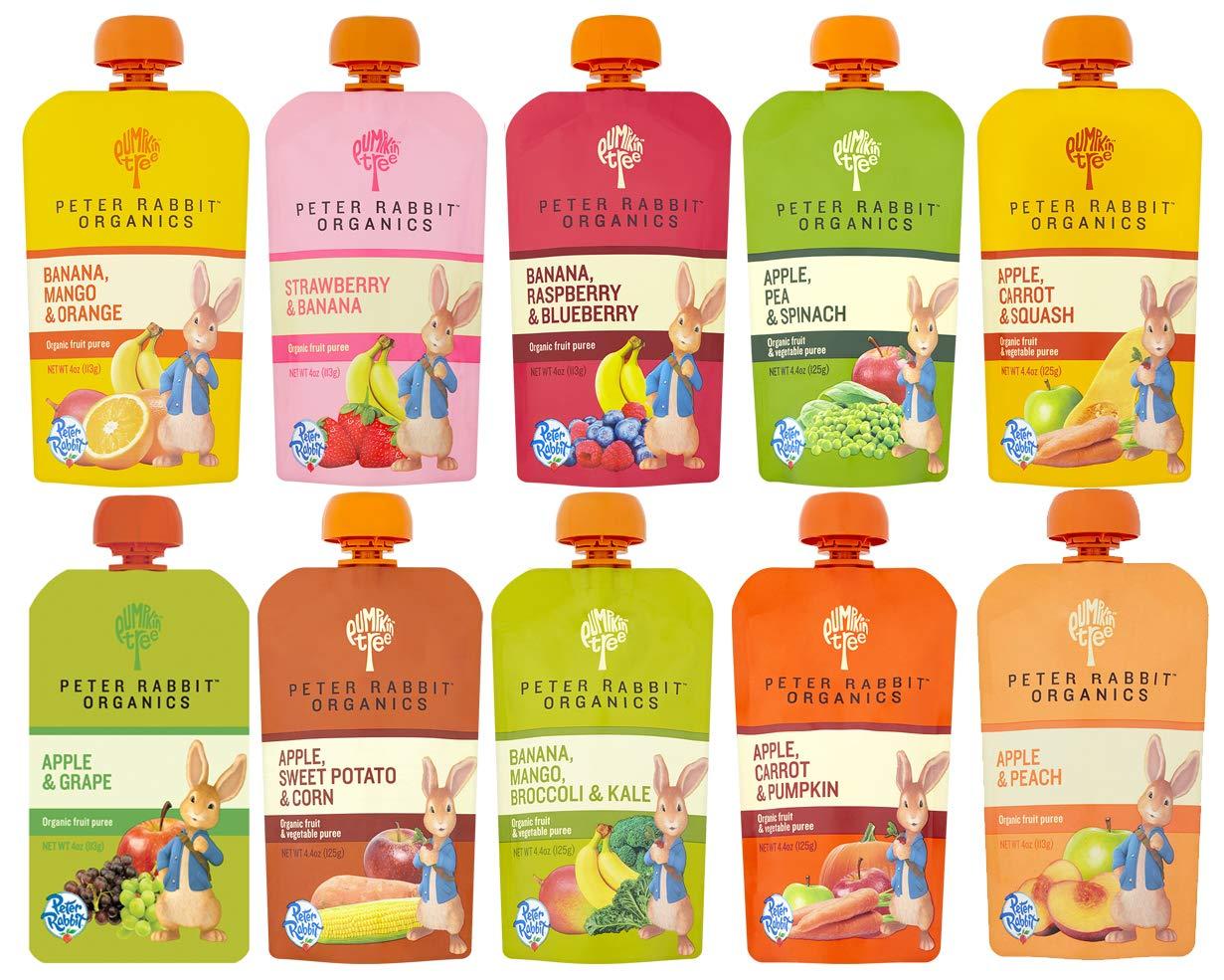 Peter Rabbit Organics 100% Pure Baby Food 10 Flavor Variety,   (Pack of 10) by Peter Rabbit Organics