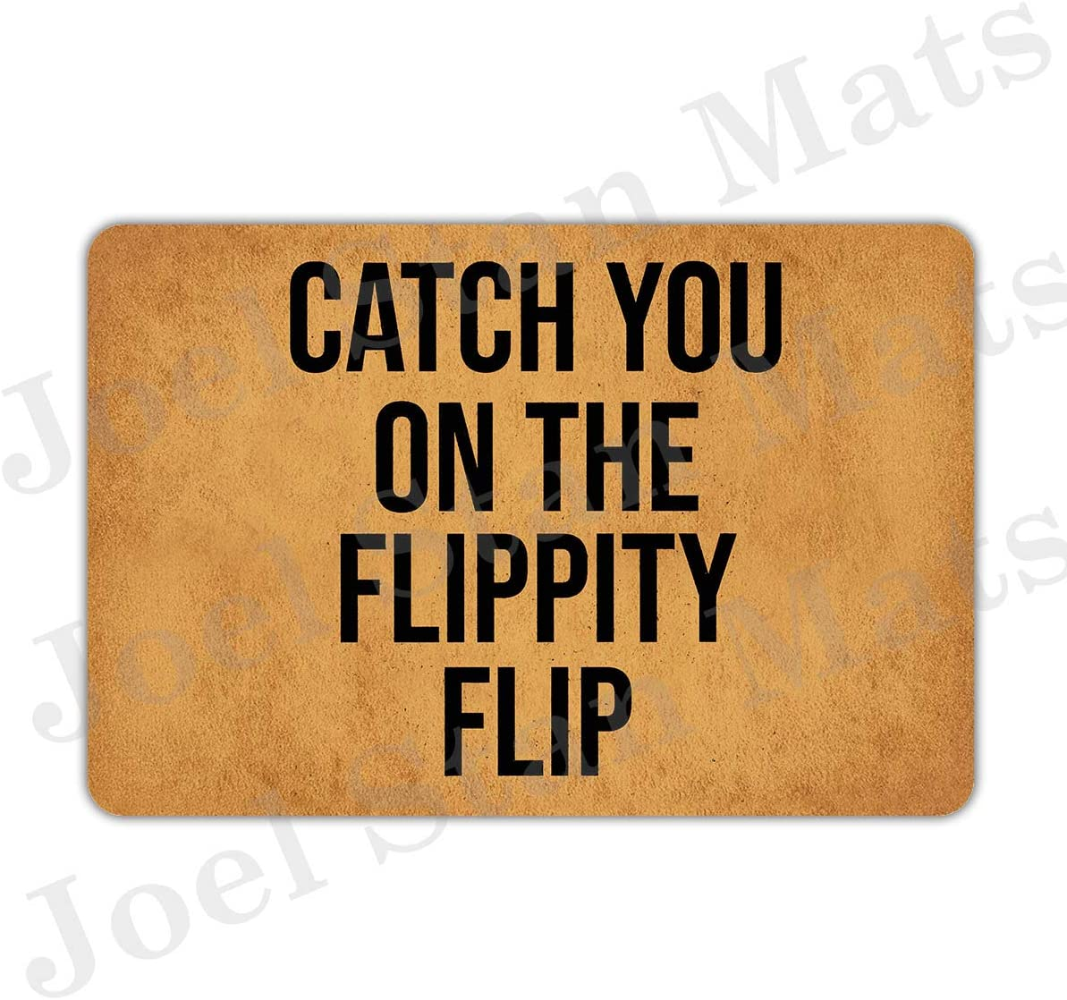 "Joelmat Catch You On The Flippity Flip Entrance Non-Slip Indoor Rubber Door Mats for Front Door/Bathroom/Garden/Kitchen/Bedroom 23.6""x 15.7"""