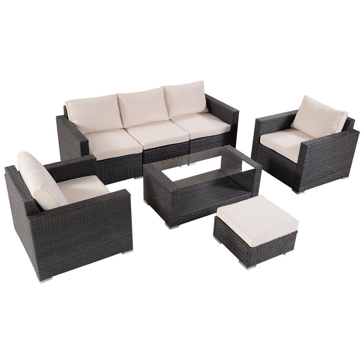 Tangkula 7 PCS Outdoor Patio Rattan Wicker Furniture Set Sectional Sofa Table Cushioned