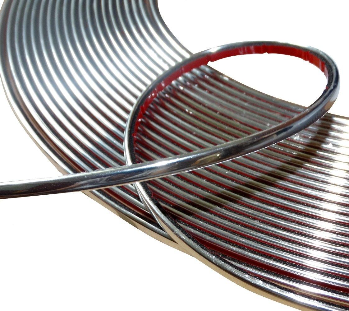 Aerzetix: 4mm 15m Bande baguette adhé sive couleur chrome nickel argent SK2-C12415-AB11
