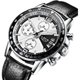 Quartz Chronograph Waterproof Watches Business And Sport Design Leather Band Strap Wrist Watch
