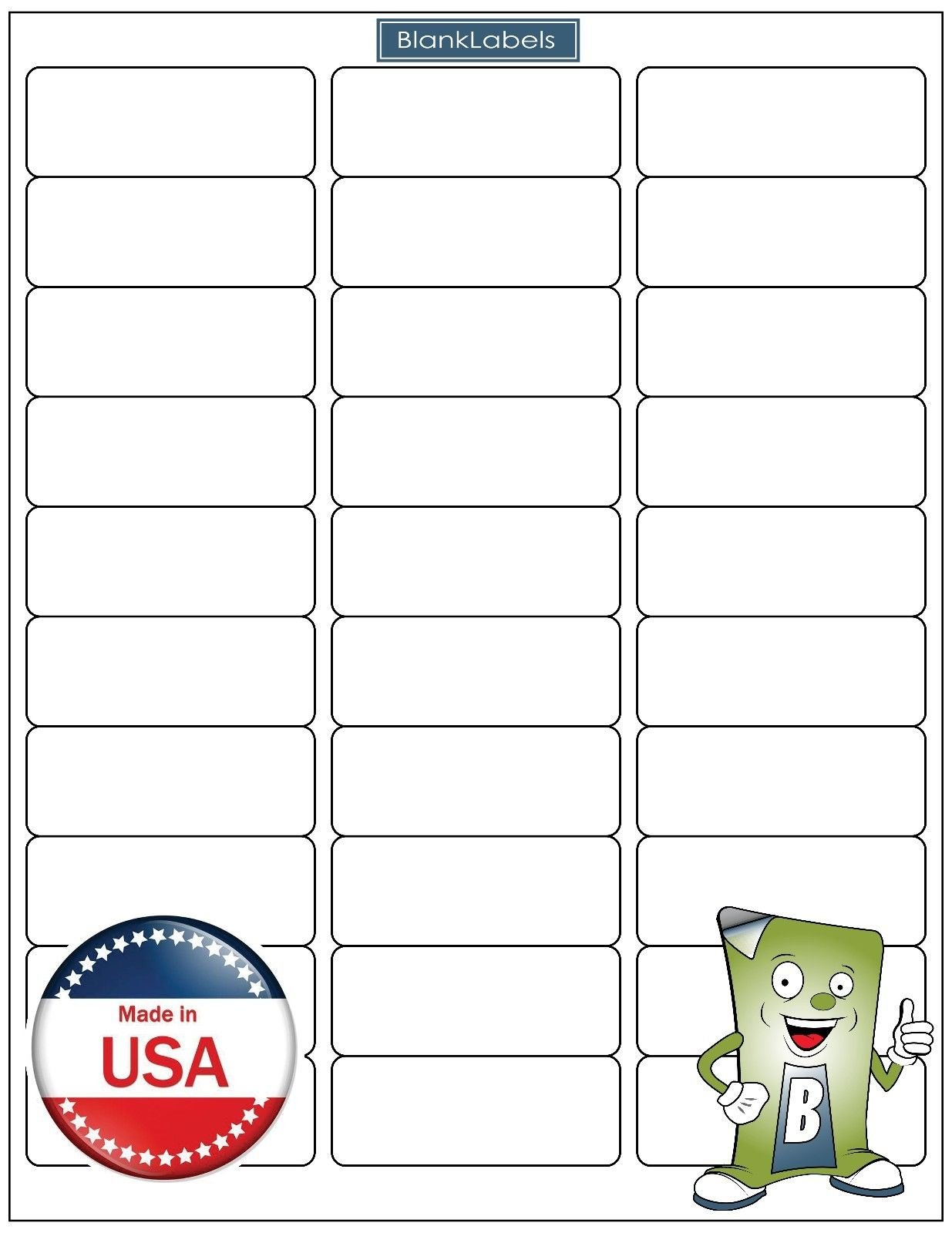 75000 Blank Labels Brand Economy Grade Address Labels. Fits Word Size 2-5/8'' x 1'' (2.625 x 1) Ink Jet and Laser Guaranteed. Made in USA (2500 Sheets)
