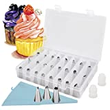 27pcs Icing Piping Nozzle Tips Set, Reechin Cake Sugarcraft Decorating Tool with 1 Reusable Bag, 2 Reusable Coupler & Storage Case for Cakes Cupcakes Baking Cookies Pastry, Fits Kids Beginners
