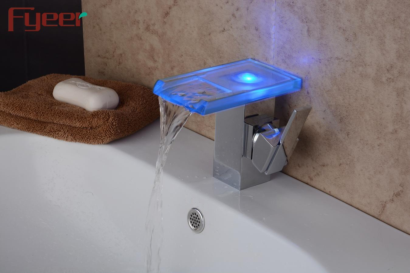 LHbox Basin Mixer Tap Bathroom Sink Faucet Basin taps Hydro Power led Temperature Control Stylish Glass Faucet Basin Waterfall Faucet