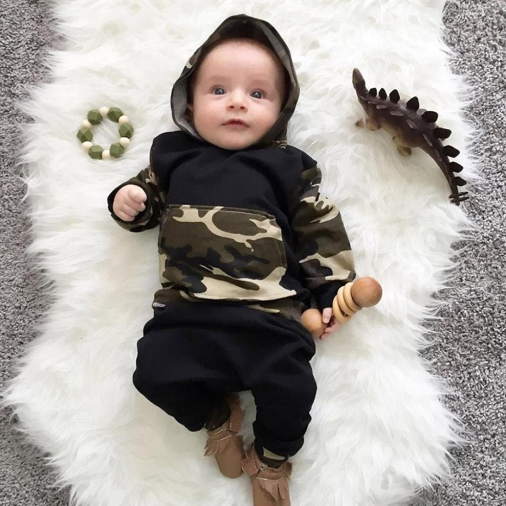 Sumen Infant Baby Boy Clothes Set Camouflage Hooded Tops+Pants Outfits