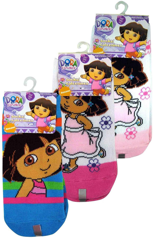 3 Pair Assorted Dora the Explorer Socks (Size 4-6) - Girls Socks