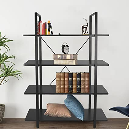 4 Shelf Vintage Retro Industrial Bookshelf Wood And Metal Bookcase For Collection Open