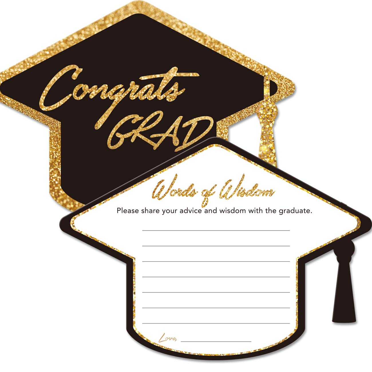 Graduation Advice Cards for The Graduate (50 Pack), High School or College Graduation Party Games Decorations Supplies, Well Wishes Cards for Graduates