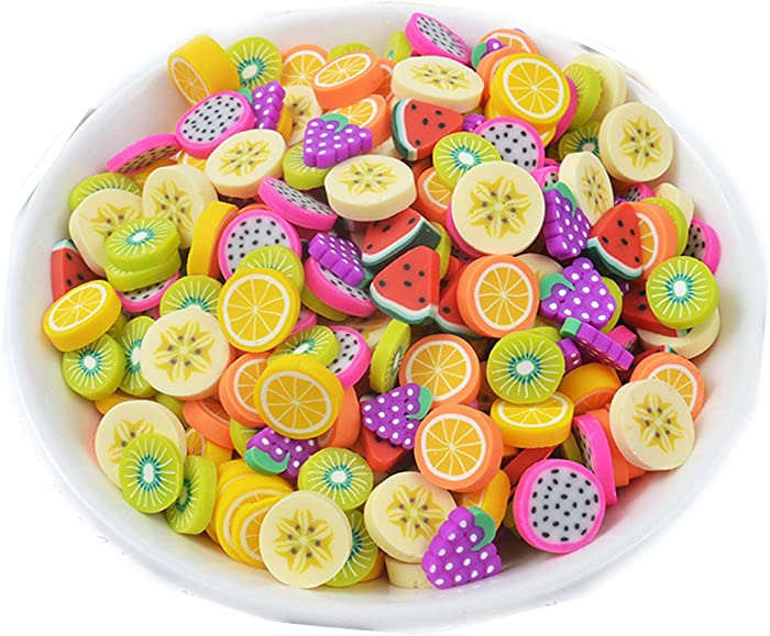 100 Pack Fruit Slime Charms Resin Flatbacks Buttons Polymer Clay Beads for Miniature Fairy Garden Hair Accessories DIY Scrapbooking Phone Case Jewelry Making Home Decoration (Multi)