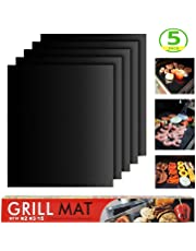 BYBOT Set di 5 Barbecue Grill Mat, Tappeto per Griglia a Carbone per Barbecue Picnic Campeggio, Riutilizzabili e Facili da Pulire, Funziona su Gas, Carbone, Grill Elettrico e Altro Ancora