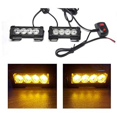 TASWK LED DRL Amber Strobe Lights for Trucks Cars 12V Universal Amber Waterproof Emergency Light (2Pcs): Automotive