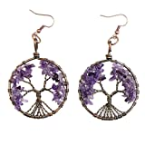 Amazon Price History for:BAYUEBA Dangle Earrings Tree of Life Amethyst Rose Crystal Chakra Gemstone Jewelry