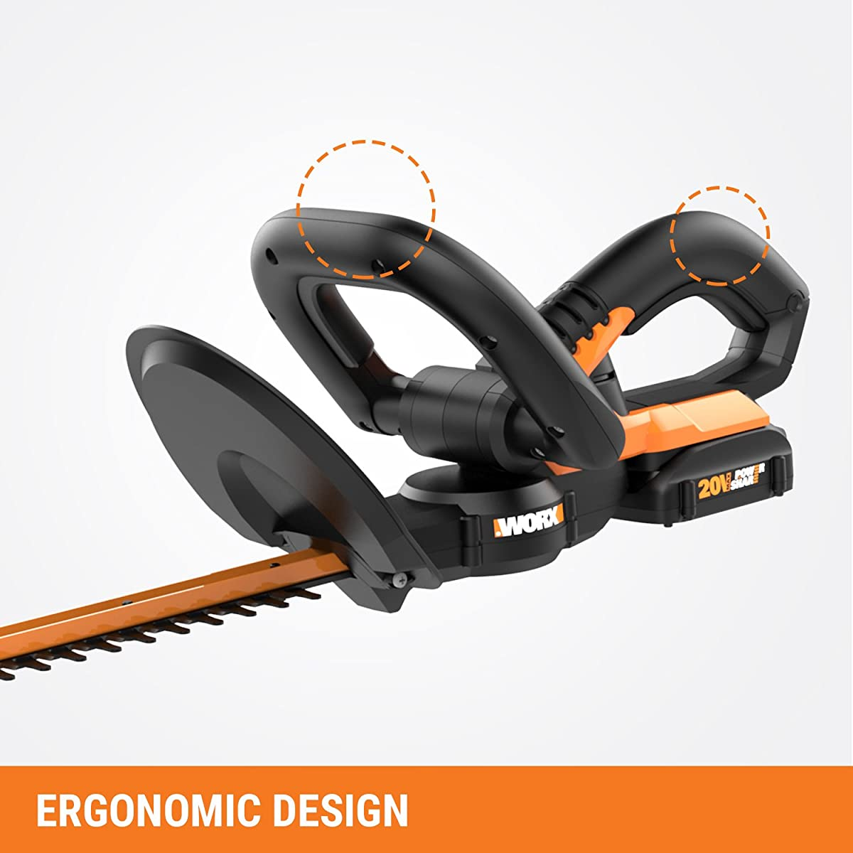 "Worx WG255.1 20V PowerShare 20"" Cordless Electric Hedge Trimmer"