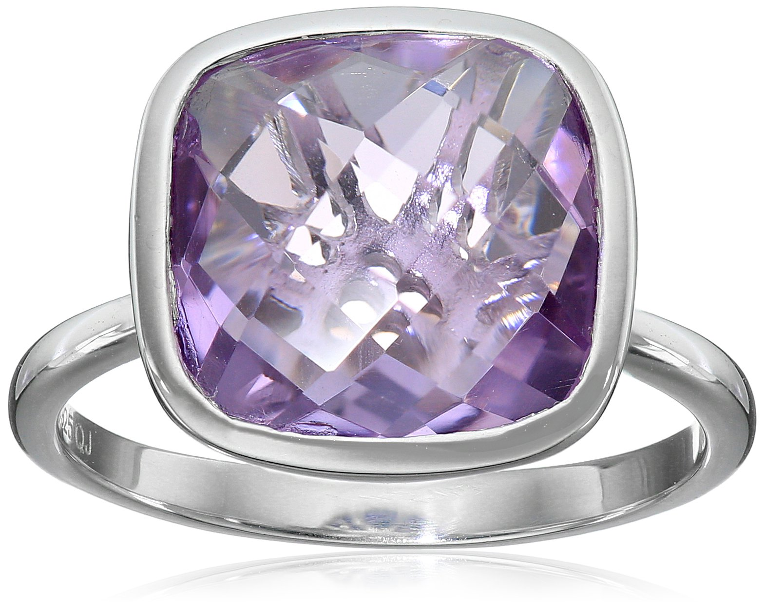 Genuine Amethyst .925 Sterling Silver Ring, Size 7