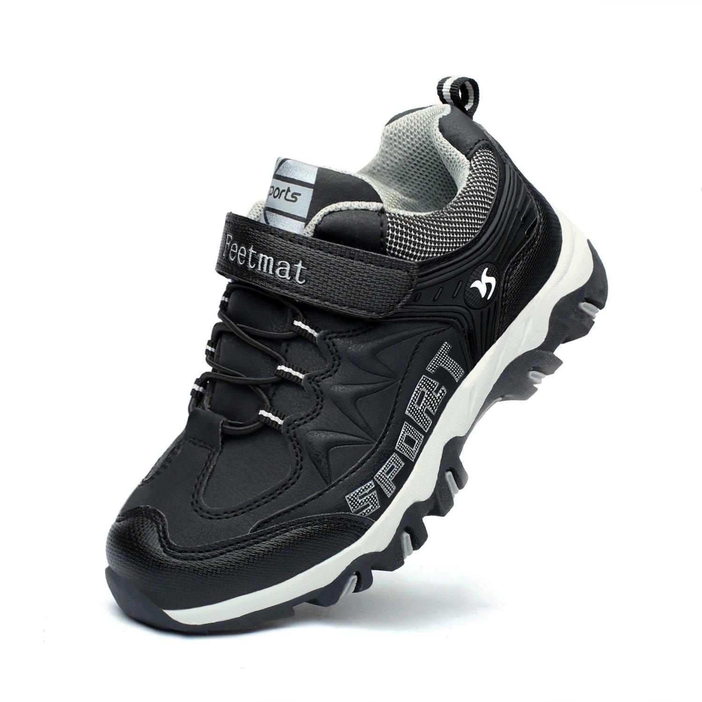 Feetmat Kids Hiking Shoes Waterproof Running Sneaker for Boys Girls Black Size 6 M Big Kid