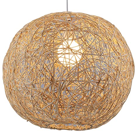 Amazon.com: Auoeer - Lámpara de techo de ratán tejida a mano ...