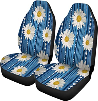 Seat Belt Pads UNICEU Decorative White Daisy Floral Print Design 5 Pcs Set Universal Car Seat Covers with Steering Wheel Cover Fit for Most Cars SUV Van Trucks