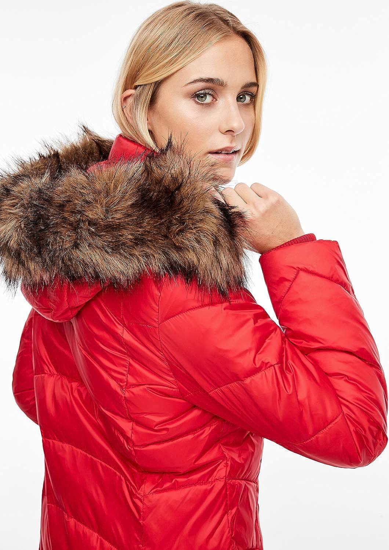 s.Oliver RED Label Damen Gl/änzender Steppmantel mit Fake Fur