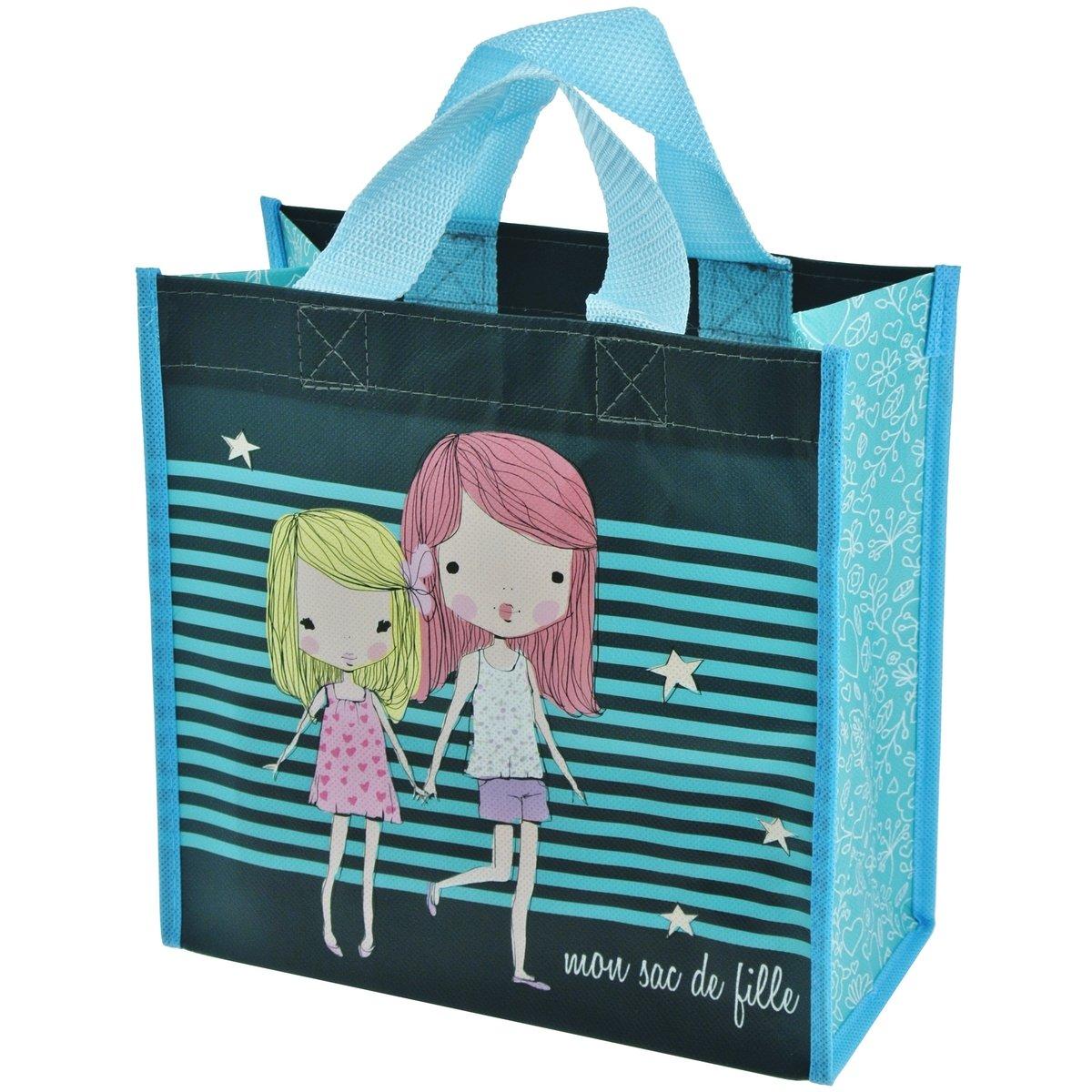 Promobo - Sac Pour Courses Cabas Shopping Girly Mon Sac De Fille Bleu cabasgirlysacfille
