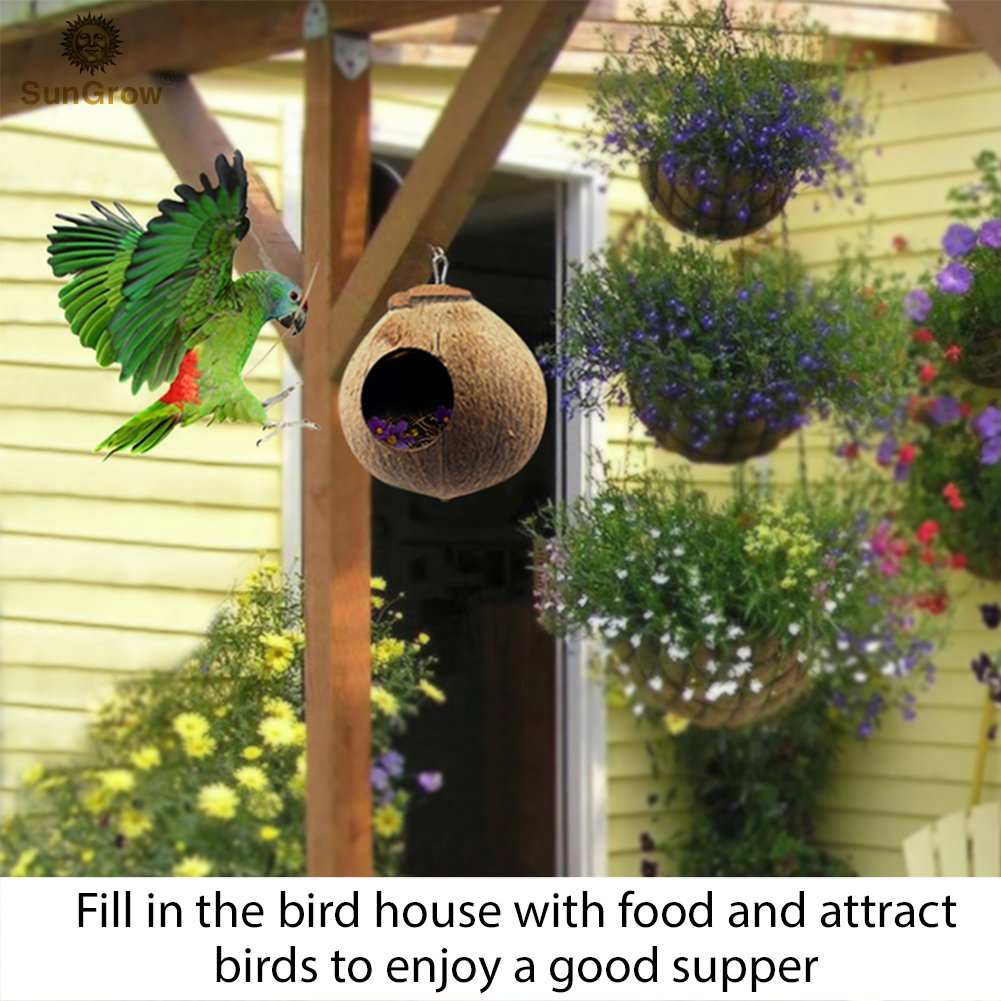 SunGrow Bird House: 100% Natural Coconut Shell: Nesting House or Bird Feeder: Sustainable Materials: Natural Textures Encourage Foot and Beak Exercise: Includes Hanging Loop