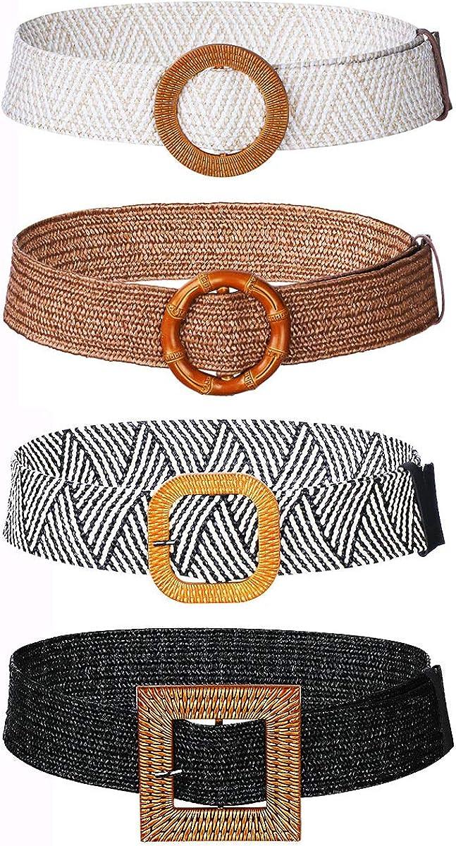 CNNIK 4 Piezas Cinturones de Cintura Elástico de Tejido de Paja para Mujeres, Cinturón de Vestir Ancho, Banda de Vestido, Longitud: 90 cm, Ancho: 5 cm
