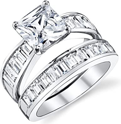 2.50 Carat 925 Sterling Silver Princess Shape Solitaire Women/'s Engagement Ring