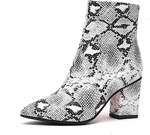WETKISS Women Snakeskin Booties, Ankle Boots Slip on for Ladies