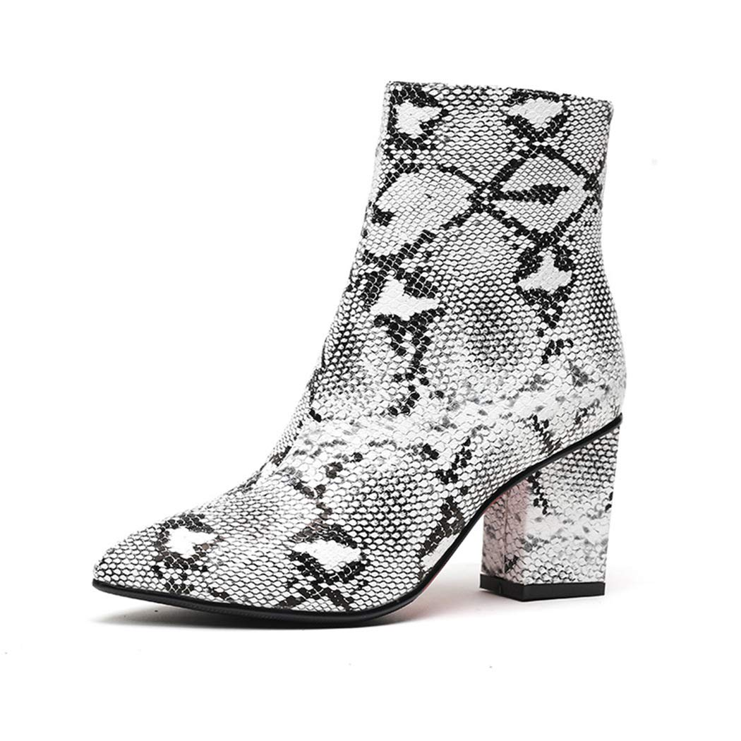 6e6d36033d Amazon.com   Plus Size Fashion Women Ankle Bootie Snake Print Sexy Boots  Winter Thick high Heels Women Shoes   Ankle & Bootie