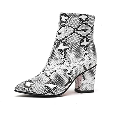 fb8204696ca8c wetkiss Snakeskin Booties Ankle Bootie Snake Leopard Print Sexy Boots  Sandals Casual Thick high Heels Women Shoes Plus Size