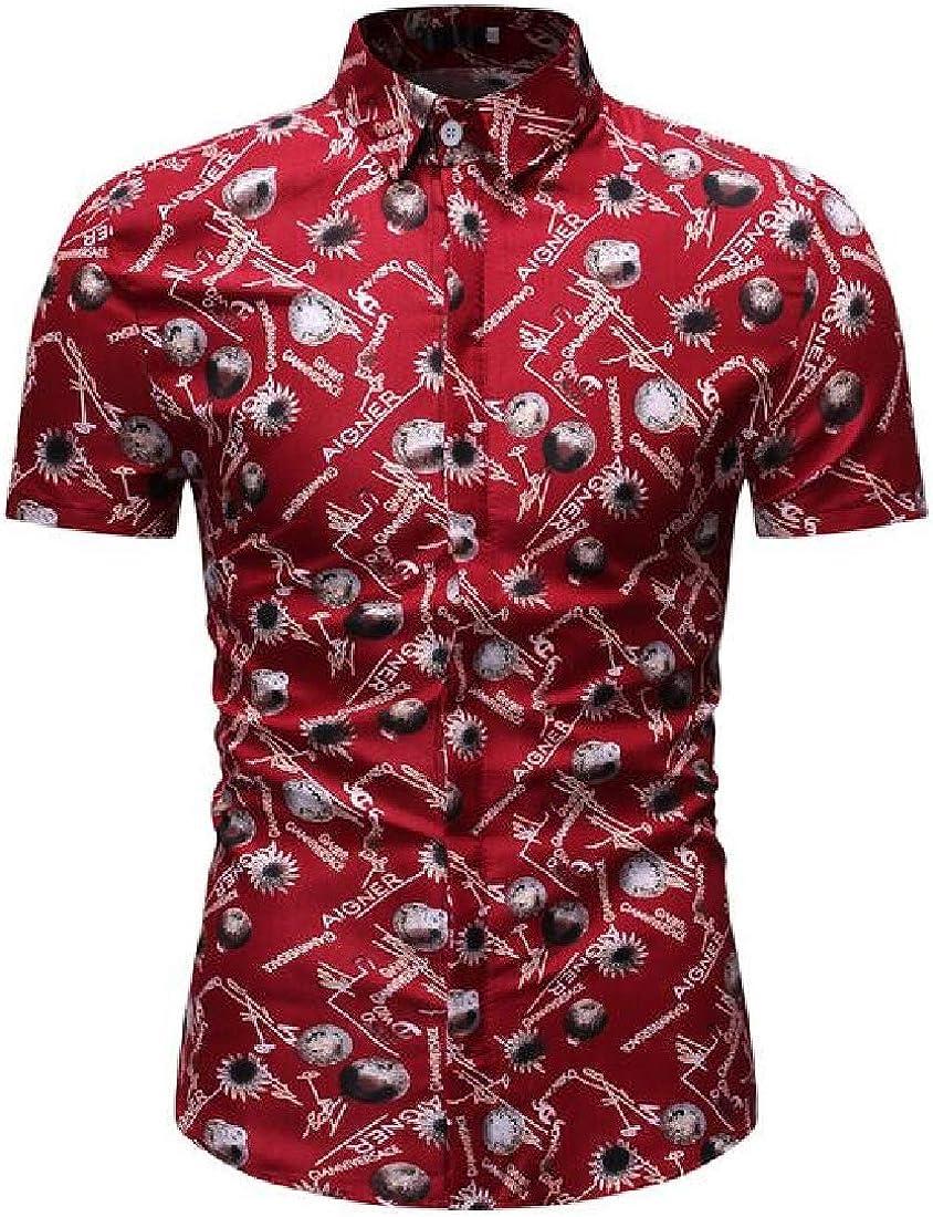 Zantt Mens Printed Short Sleeve Button Up Casual Regular Fit Dress Shirts