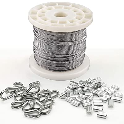 1/16 Wire Rope Kit with 50psc Stainless Steel Thimble and 50pcs Aluminum Crimping Sleeves, IETFULL Stainless Steel 304 Wire Cable, 7x7 Strand Core, 328FT Length Cable, 368 lbs Breaking Strength Backyard