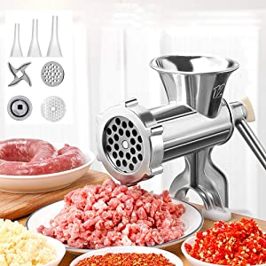 YIYU Manual Meat Grinder Hand Operated Aluminum Alloy Food Processor Multifunction Meat Grain Grinder Sausages Maker Wheat Grinder Kitchen Tools with Tabletop Clamp (L, Silver)