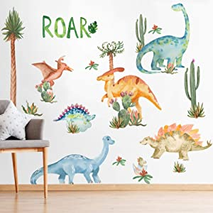Yovkky Watercolor Dinosaur Nursery Wall Decals, Large Peel and Stick Dino Tropical Plant Stickers Cactus Palm Leaf Decor, Home Kitchen Decorations Boy Girl Kid Baby Bedroom Playroom Art Party Supplies