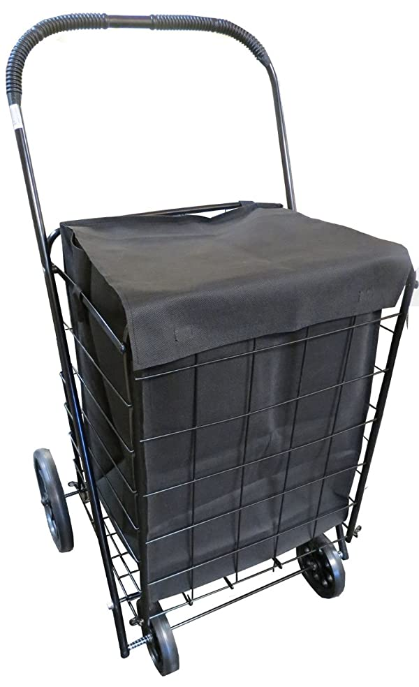 2cdd5800e8a UPT Extra Large Heavy Duty Folding Shopping Laundry Storage Cart with  Matching Black Liner Basket Cart