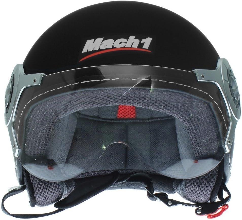 Mach1/® Jethelm Motorradhelm ECE R 22.05 schwarz Roller Scooter Helm Gr/ö/ße XS bis XXL mit durchsichtigem Visier