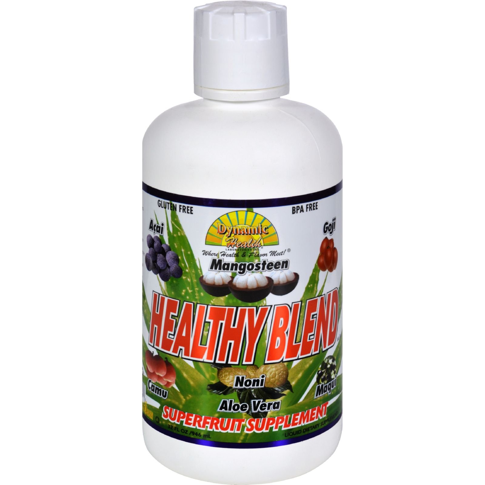 Dynamic Health Healthy Blend Juice - 32 fl oz - promote healthy living -noni superfruit - Gluten free - Antioxidant Supplement - Free Of Artificial colors and flavors
