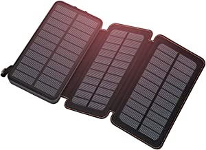 Solar Charger 24000mAh, FEELLE Solar Power Bank with 3 Solar Panels Portable Phone Chargers for Smart Phones, Tablets and More