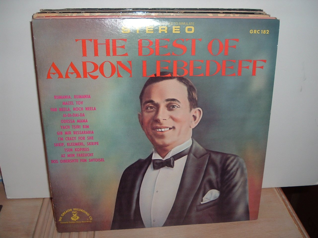 The Best Of Aaron Lebedeff - Yiddish selections - rare 1970 Greater Recording Co. vinyl LP