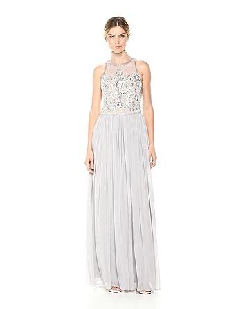 6df8eb366fe Adrianna Papell Women s Beaded Halter Illusion Bodice Long Chiffon Dress